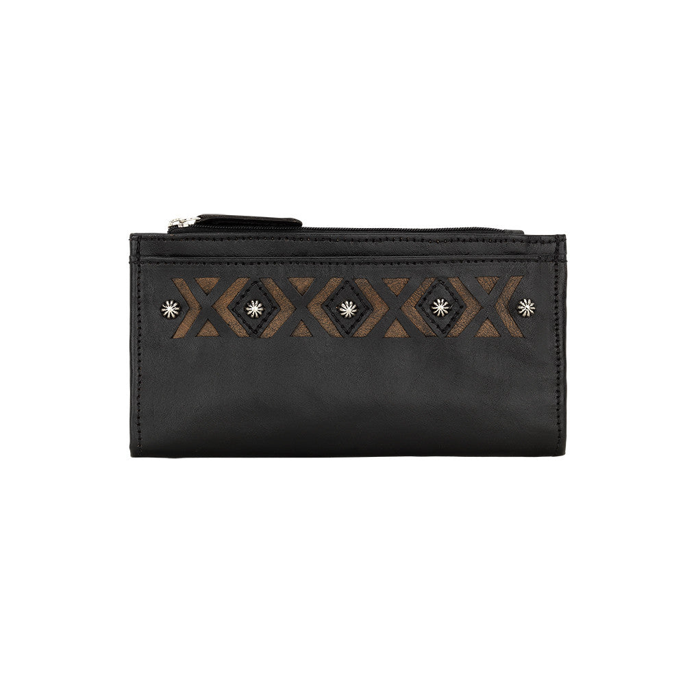 American West Ladies' Folover Wallet, front of wallet in color Black at Lufli.com