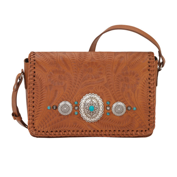 American West Lariat Love Crossbody Flap Bag in Golden Tan front of bag at Lufli Boutique