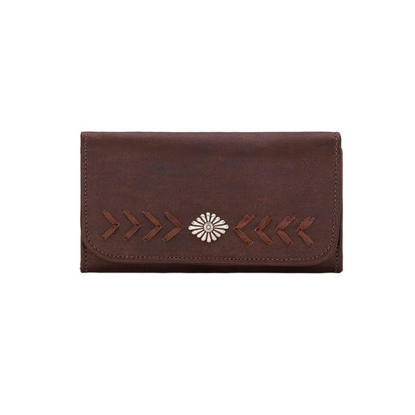 Mohave Canyon Ladies' Tri-Fold Wallet in Chestnut Brown | Lufli Boutique