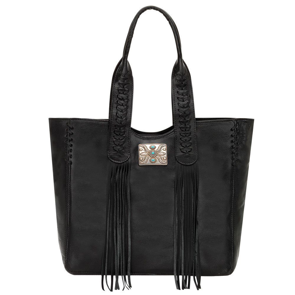 American West Mohave Canyon Large Zip Top Tote in Black | Lufli Boutique