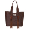 American West Mohave Canyon Large Zip Top Tote in Chestnut Brown | Lufli Boutique