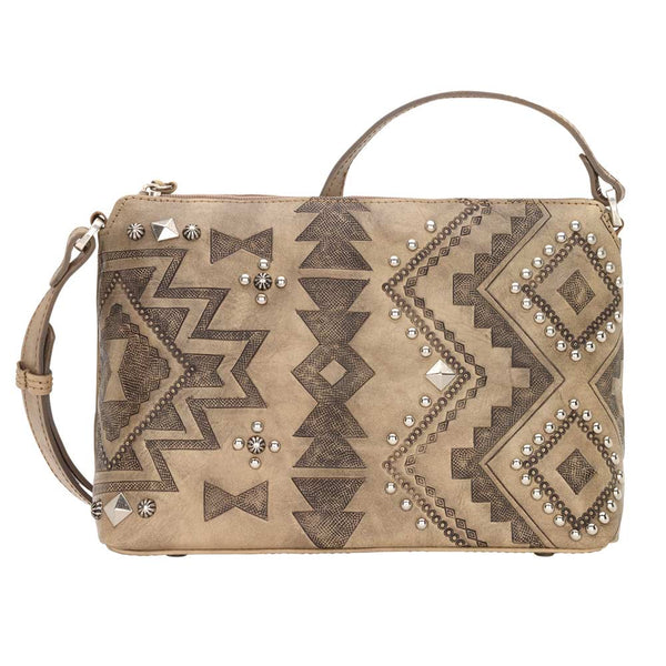 American West Nomad Heart Zip Top Crossbody Bag Sand front of bag