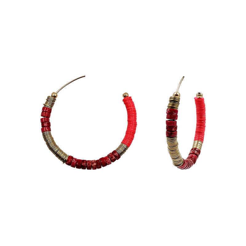Ariana Flat Bead Hoop Earrings - Red
