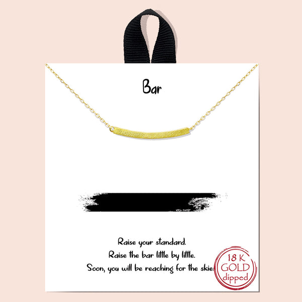 Bar Charm Necklace - Gold Dipped