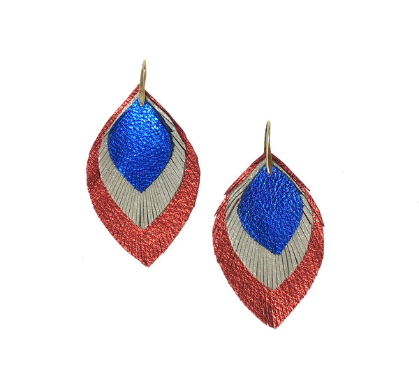 3 Layer Leather Earrings - Blue White Red
