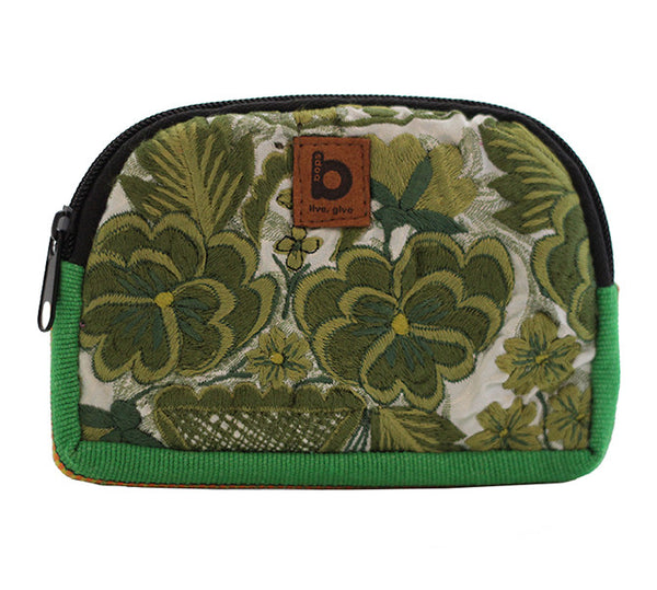 Bops Handmade Guatemala Coin Purse Travel Pouch front of pouch in green at Lufli Boutique