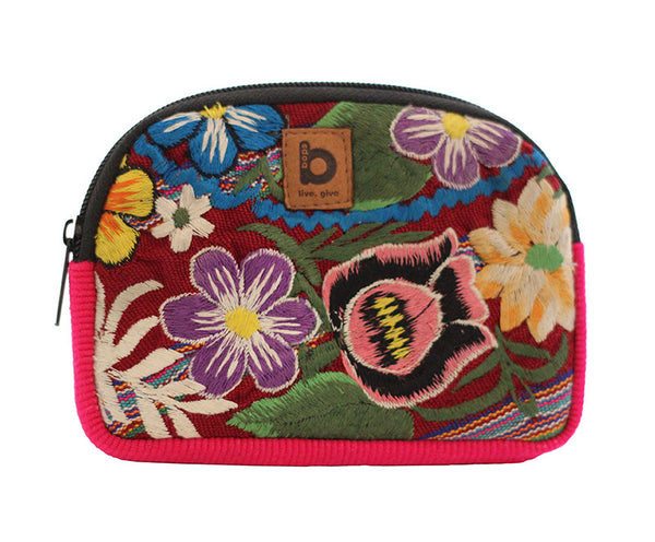 Bops Handmade Guatemala Coin Purse Travel Pouch front of pouch in pink at Lufli Boutique