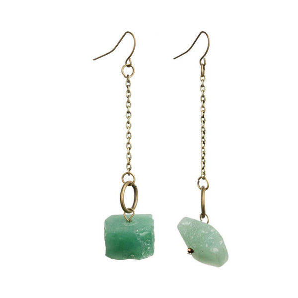 Women's Gold Jade Dangle Chain Earrings at Lufli Boutique