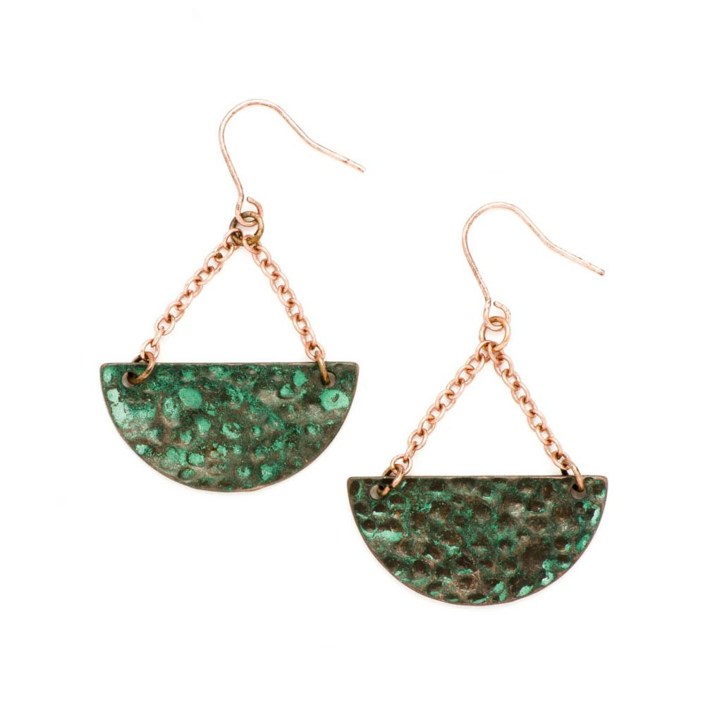 Hammered Turquoise Half Moon Dangle Earrings at Lufli Boutique