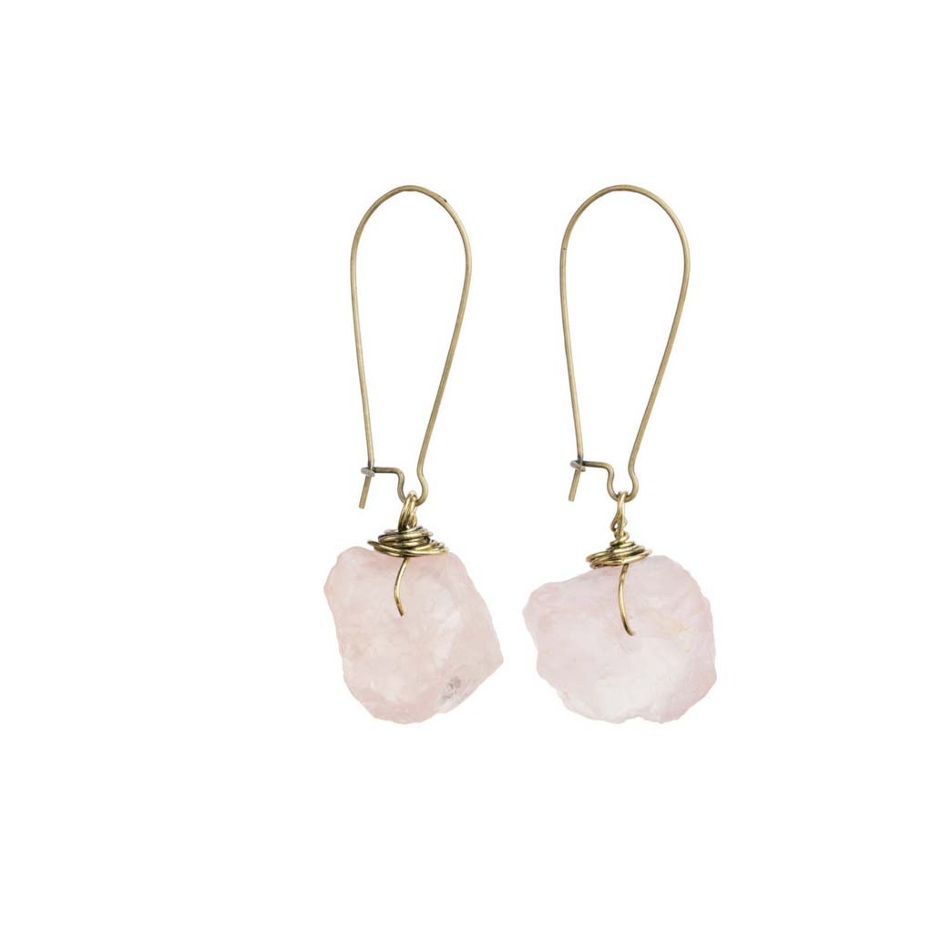 Women's Wire Wrapped Rose Quartz Dangle Earrings at Lufli Boutique