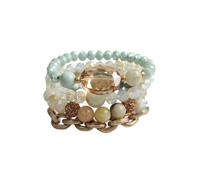 Brin Beaded Stack Bracelet - Mint
