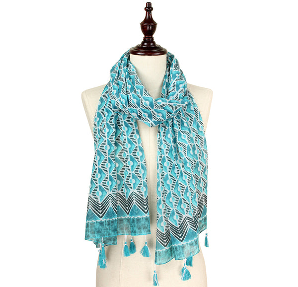 Bryn Print Scarf with Tassels - Turquoise