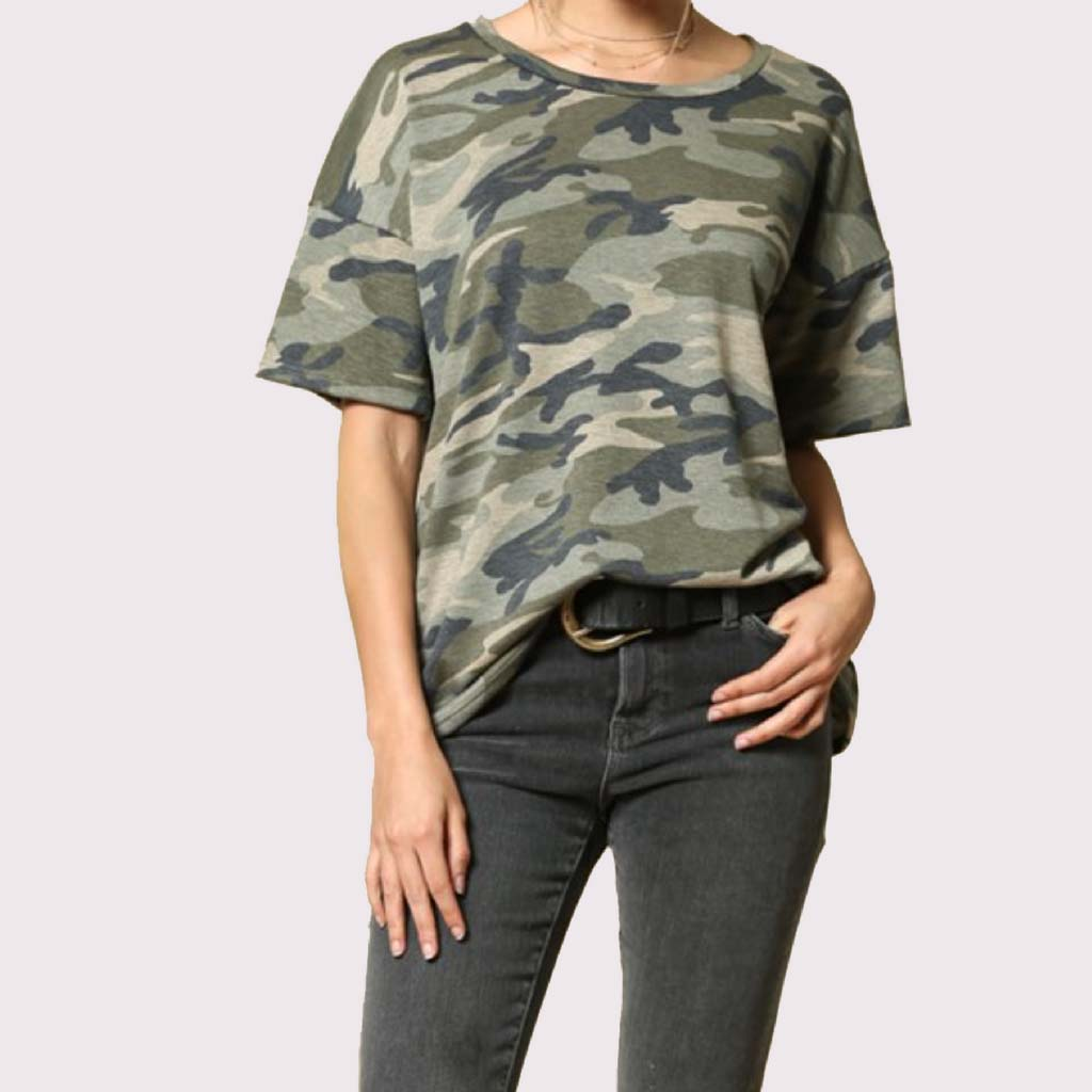 Camoflage Short Sleeve Easy Boxy Tee Shirt in Green Front Close up Shirt at Lufli Boutique