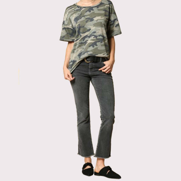 Camoflage Short Sleeve Easy Boxy Tee Shirt in Green Full Shirt at Lufli Boutique
