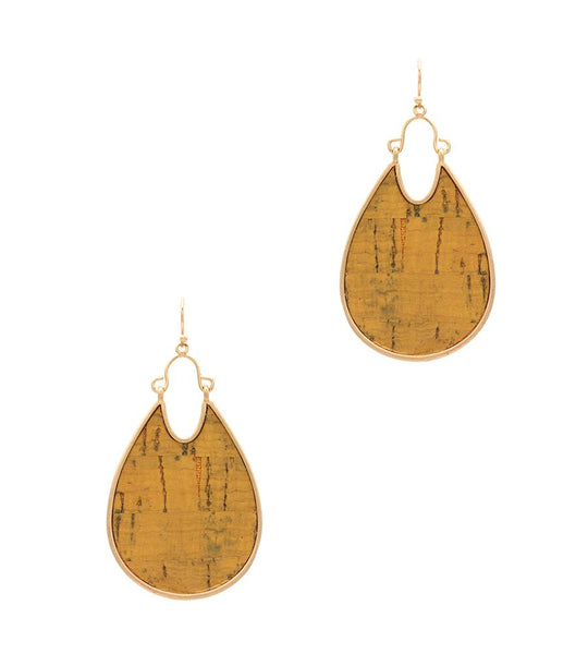 Charlie Teardrop Cork Earring - Yellow