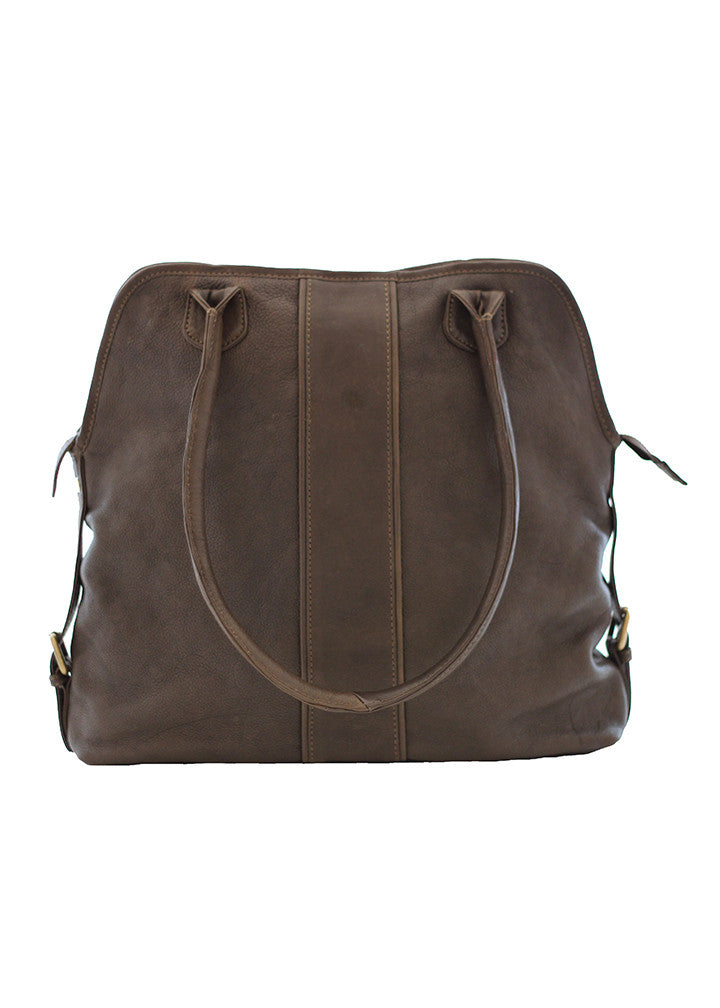 Cut n' Paste Wimbledon Leather Shoulder Bag Mud Brown
