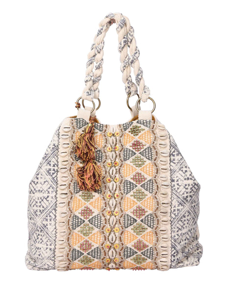 Beads & Shells Embroidered Tote Bag - Natural