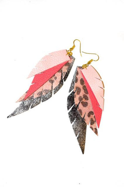 Layered Leather Earring- Pink Layered Leopard
