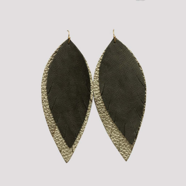 Genuine Leather Double Feather Leather Earring - Olive Gold