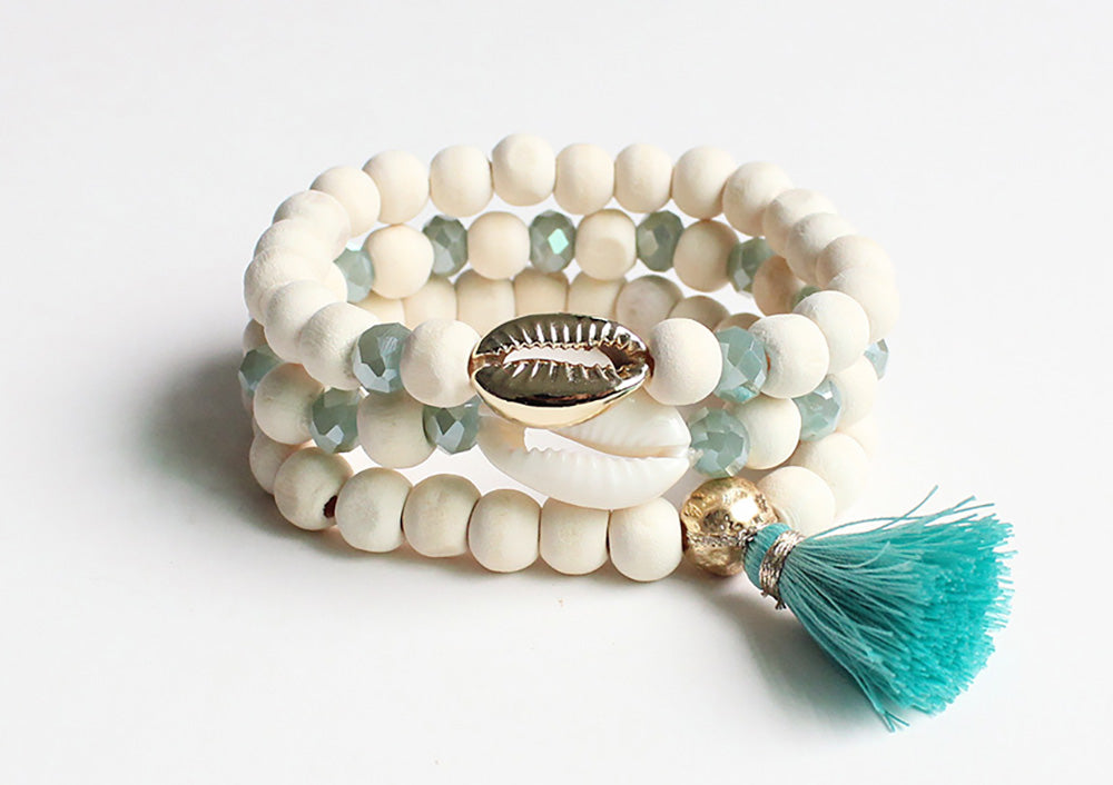 3 layer wood bracelet with tassel and shell charm mint