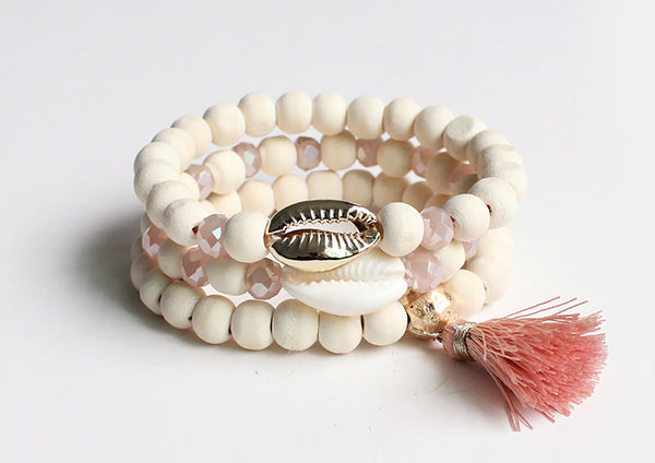 3 layer wood bracelet with tassel and shell charm - Rose