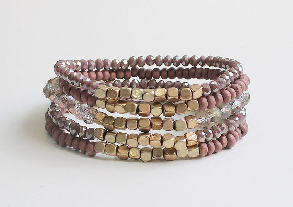 Emory 5 Layer Wood + Glass Bead Bracelet - Dark Rose