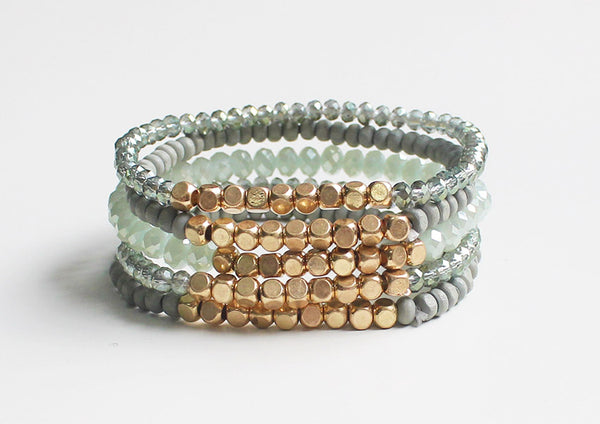 Emory 5 Layer Wood + Glass Bead Bracelet - Mint