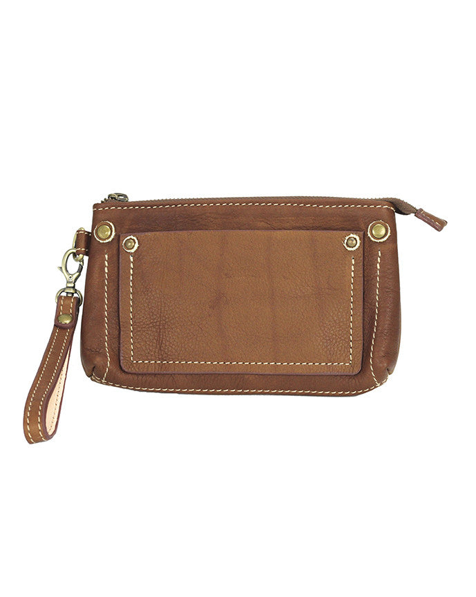 Fredd and Basha Tono Zip Leather Wristlet Whisky Brown