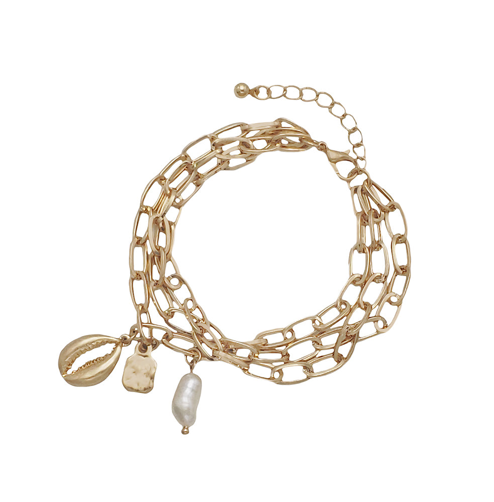 Giselle Chain Pearl Charm Bracelet - Worn Gold