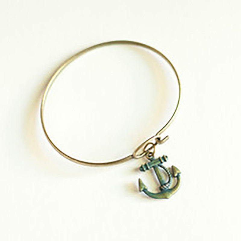 Gleeful Peacock Anchor Charm Bracelet Turquoise - Lufli.com