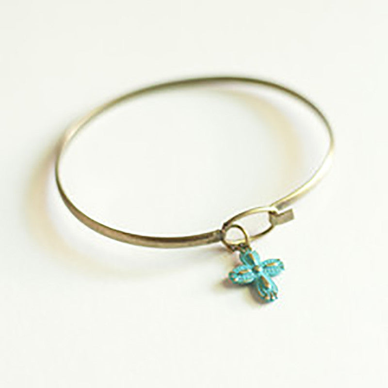 Gleeful Peacock Cross Charm Bracelet in color Aqua - Lufli