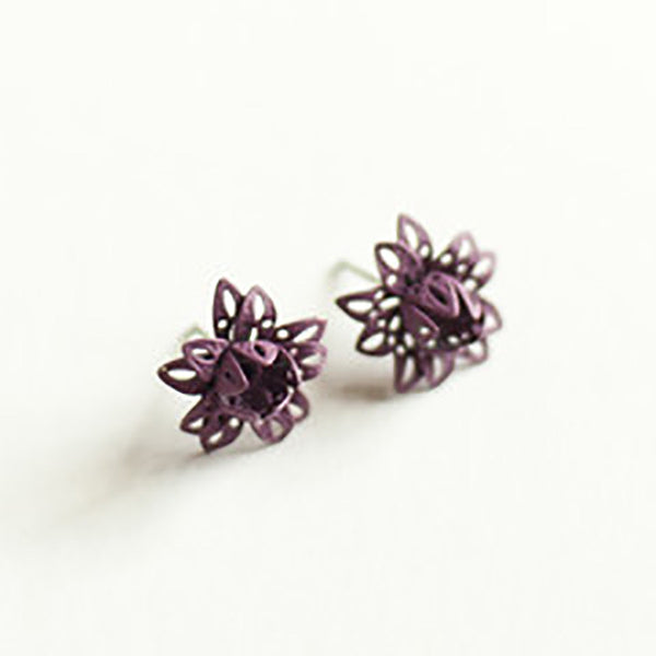 Gleeful Peacock Pick Me Flower Stud Earrings Mulberry - Lufli