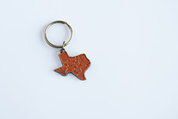 Gleeful Peacock Texas Keychain Burnt Orange