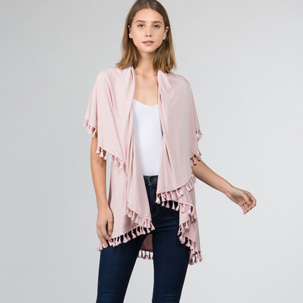 Grayson Knit Tassel Vest Light Pink