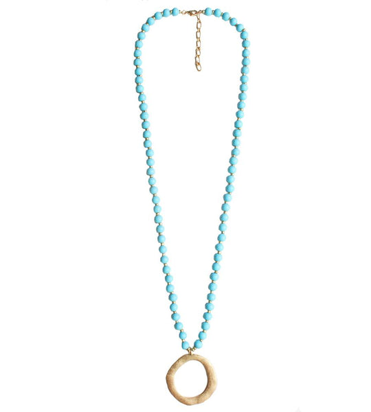 Hailey Wood Beaded Necklace - Turquoise Blue