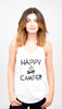 Lazy J Happy Camper Tank Top in White on Model - Lufli Boutique