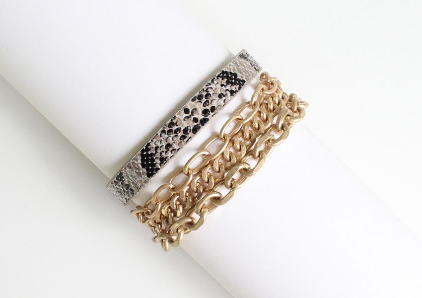 Ivy Multi Chain and Snakeprint Bracelet - Worn Gold