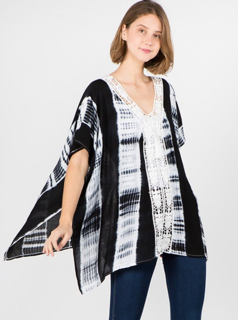 Janis Tie Dye Poncho with Embroidered Collar Black