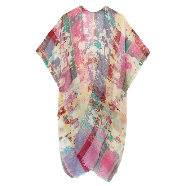 Jordana Washed Out Plaid Kimono Pink
