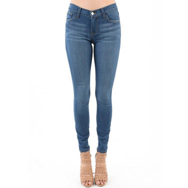 Judy Blue Jeans Mid-Rise Skinny Jeans in Medium Blue front of jeans