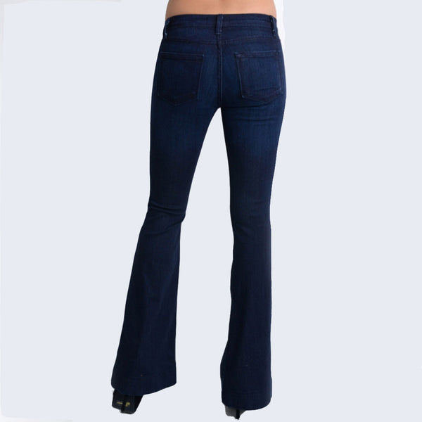 high quality materials classic shoes sale retailer Mid-Rise Fitted Trouser Flare Jean - Dark Blue Denim