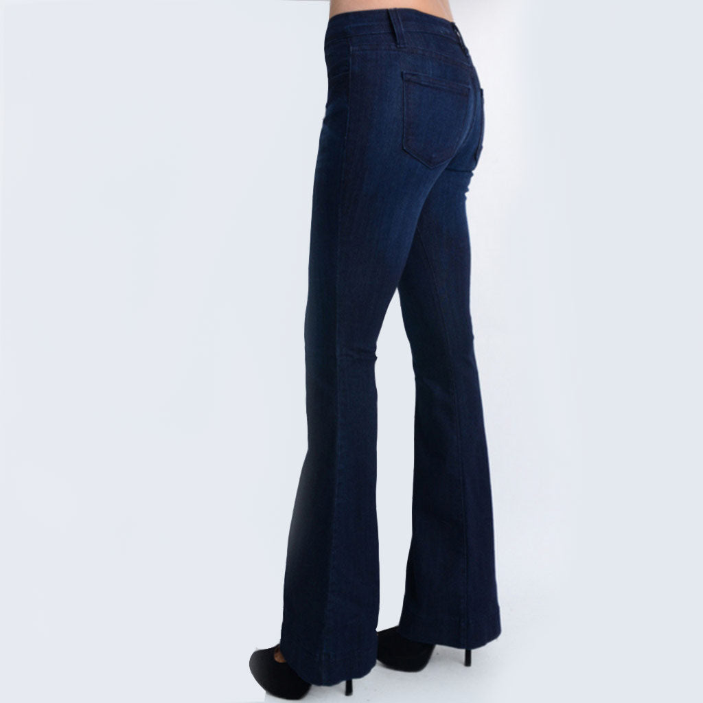 luxury fashion reliable reputation beautiful style Women's Mid-Rise Fitted Stretch Trouser Flare Jean - Dark ...