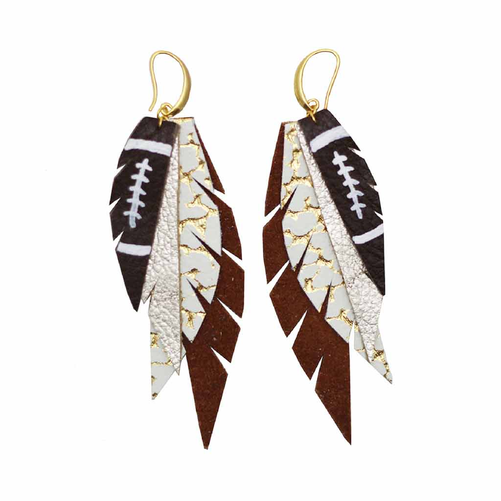 Layered Leather Football Earrings - Burnt Orange - White