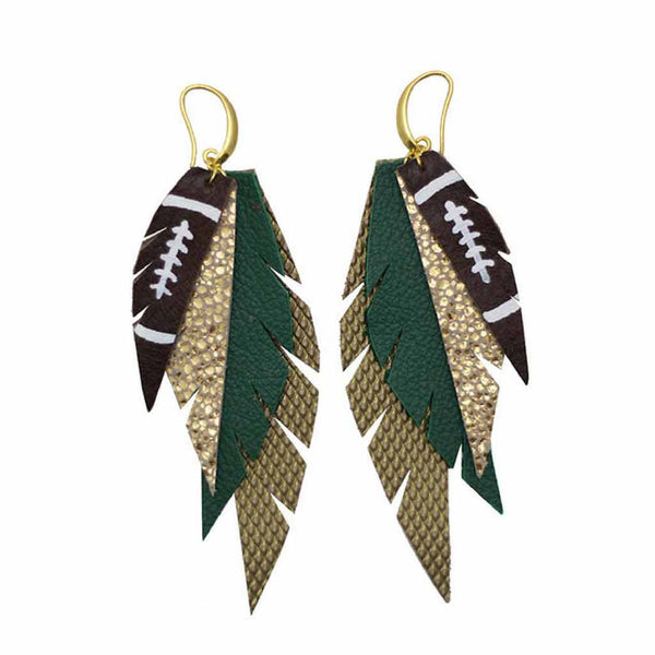 Layered Leather Football Earrings - Green Gold