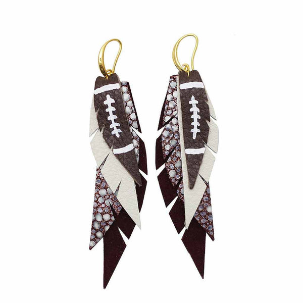 Layered Leather Football Earrings - Maroon White