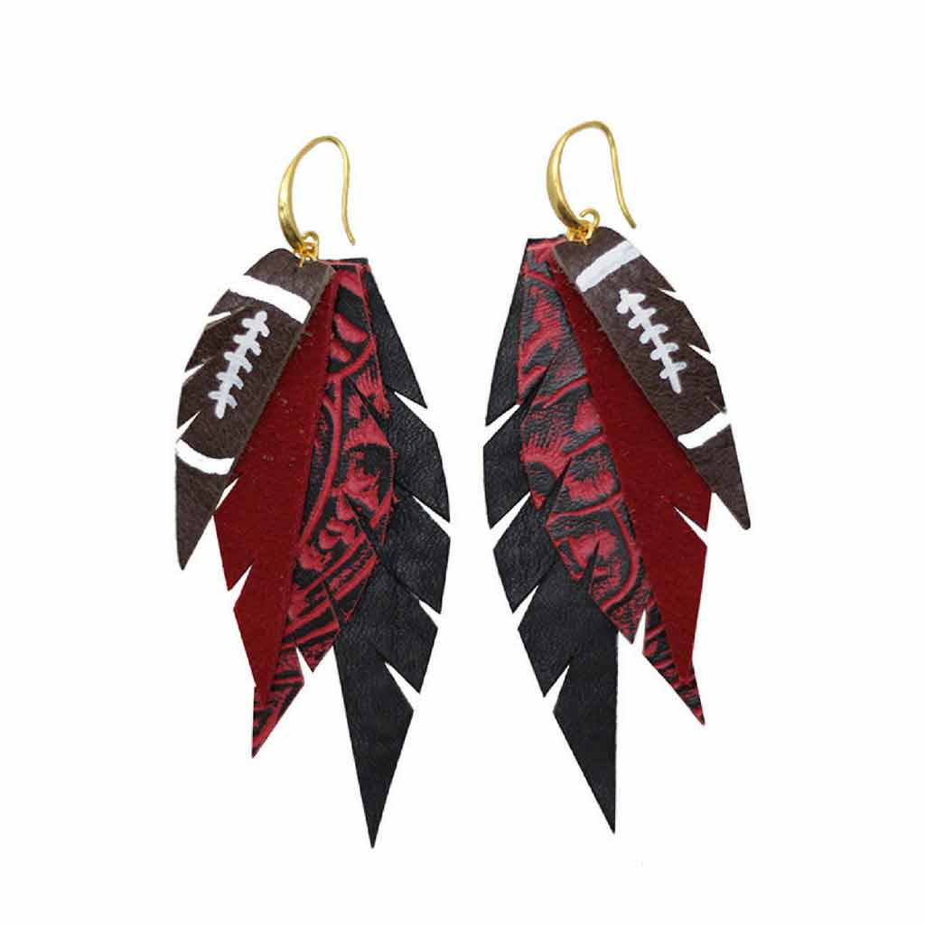 Layered Leather Football Earrings - Red Black