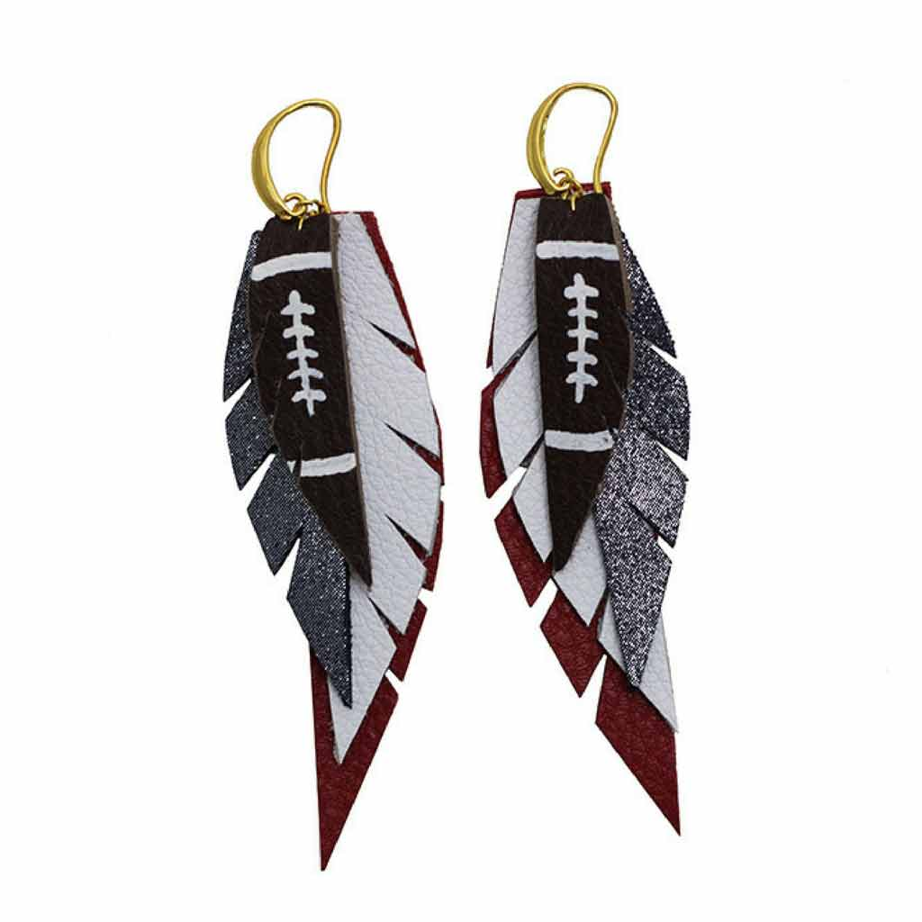 Layered Leather Football Earrings in Red White and Blue