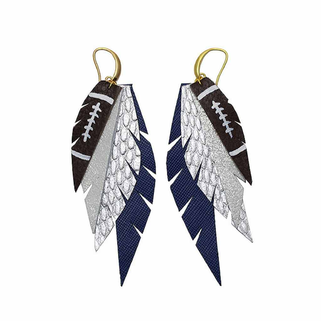 Layered Leather Football Earrings - Silver Blue