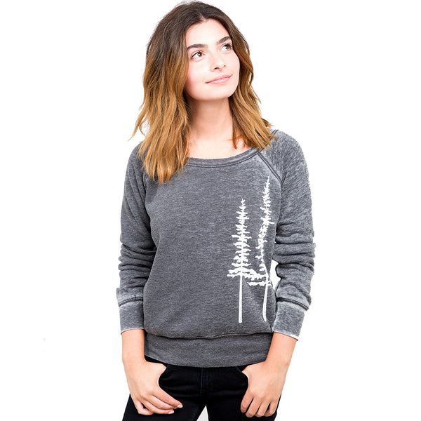 Lazy J Pine Trees Acid Washed Sweatshirt in Gray shown on model at Lufli Boutique