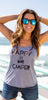 Lazy J Happy Camper Tank Top Gray Style 2 - Lufli.com